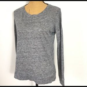Madewell Marled Grey Casual Linen/Blend Blouse M